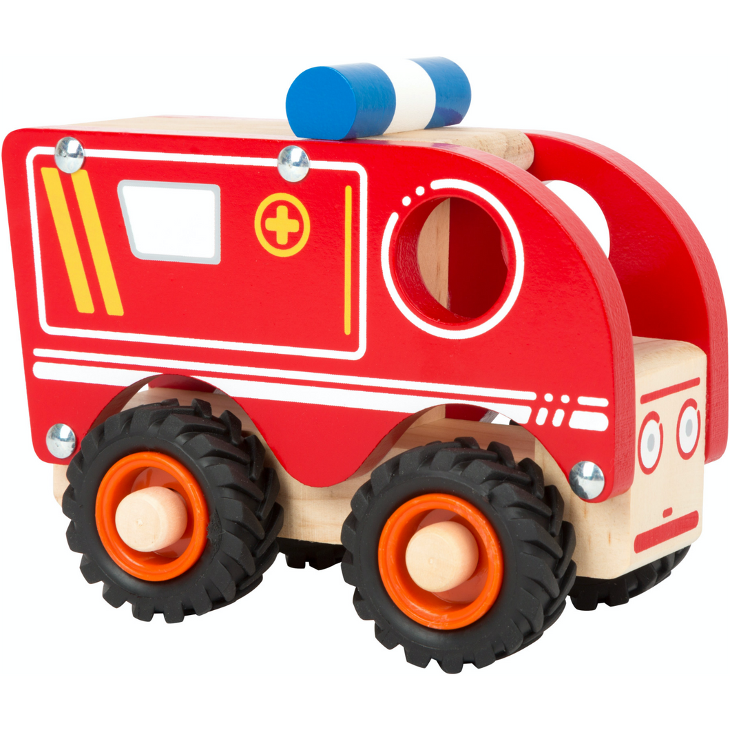 Small Foot Wooden Ambulance | Front Side View Right | BeoVERDE.ie