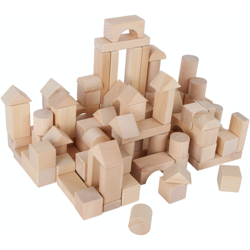 Small Foot Natural Wooden Building Blocks In A Bag | 100 Blocks | BeoVERDE.ie