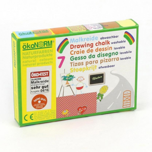 okoNORM Kids' Natural Drawing Chalks | Vegan & Eco-Friendly | 7 Colours | Box Closeup | BeoVERDE.ie