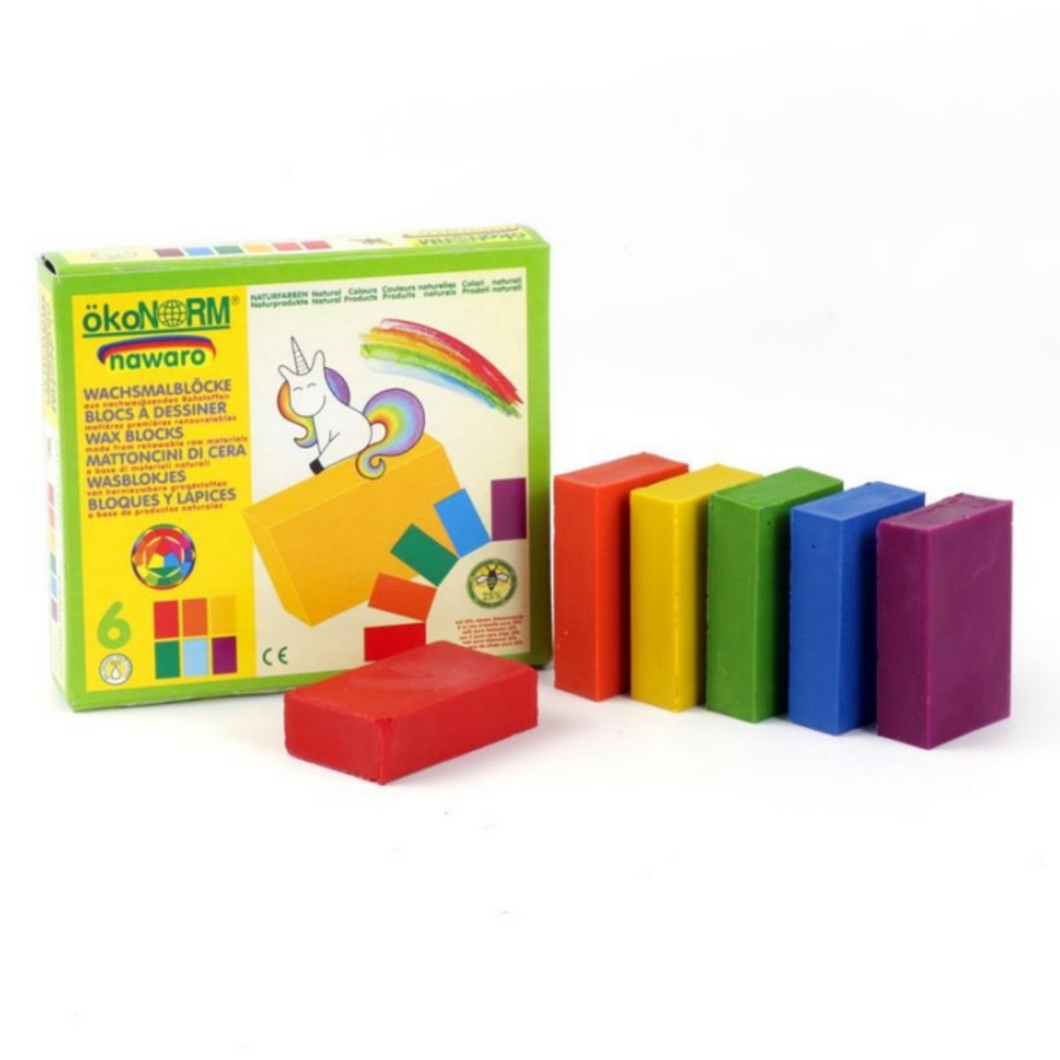 okoNORM Child-Safe Natural Wax Blocks | 6 Vibrant Colours | BeoVERDE.ie