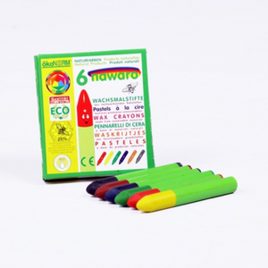 okoNORM Child-Safe Natural Wax Crayons | 6 Vibrant Colours | BeoVERDE.ie