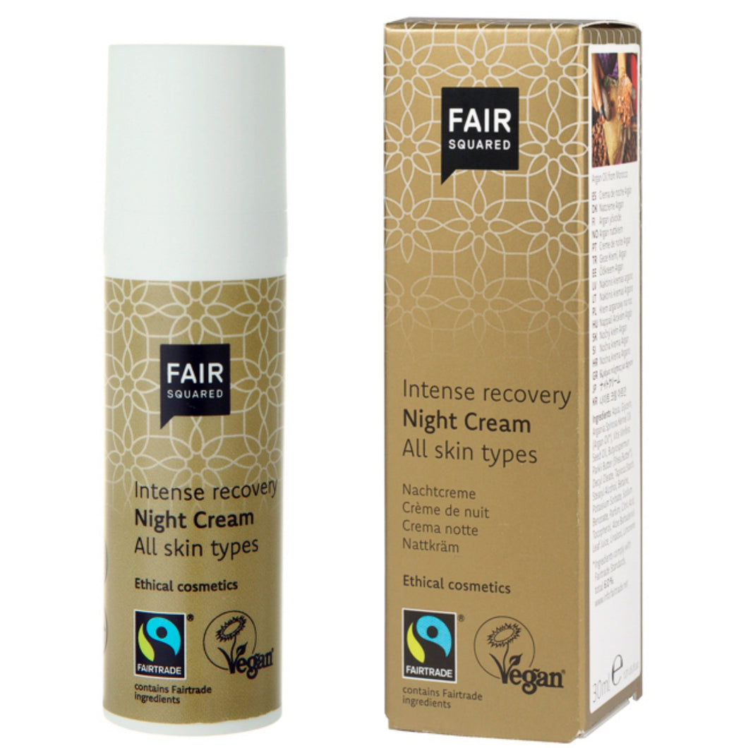 FAIR SQUARED Intense Recovery Night Cream | Fairtrade Vegan Natural Halal | BeoVERDE.ie