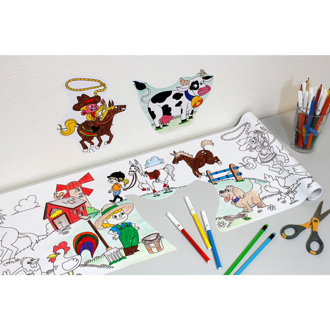 Self-Stick Colouring Book & Roll | Farm Life Adventures | Coloured Cut-outs Stuck to Wall | BeoVERDE.ie