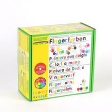 Load image into Gallery viewer, Child-Safe Natural Finger Paint | 4 Vibrant Colours | Box Closeup | BeoVERDE.ie