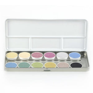 Non-Toxic Vegan Watercolour Paints | 12 Vibrant Colours | Box Open Closeup | BeoVERDE.ie