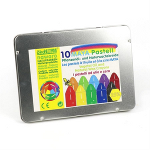 Non-Toxic Natural Oil Pastels | 10 Vibrant Colours | Metal Case | BeoVERDE.ie