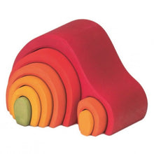 Load image into Gallery viewer, Gluckskafer Red Wooden Arch House Stacker | Imaginative Play Wooden Toys | Waldorf Education and Montessori Education | Left Side View | BeoVERDE.ie