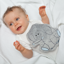 Load image into Gallery viewer, Warming Pillow for Babies & Young Children | Elephant | Grape Seeds | Baby with Warming Pillow | BeoVERDE.ie