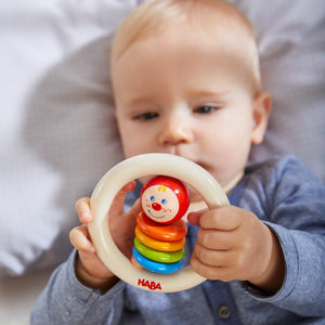 Happy Clown | Clutching Toy | Baby's First Wooden Toy | HABA | Lifestyle: Baby with Clutching Toy | BeoVERDE.ie