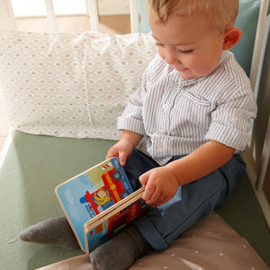 Fire Brigade | Wooden Baby Book | Baby's First Book Toy | HABA | Lifestyle: Baby Reading Wooden Book | BeoVERDE.ie
