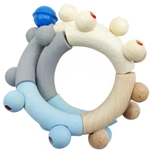 Baby Blue Eight | Rattle and Clutching Toy | Baby's First Wooden Toy | Hess | Left Side | BeoVERDE.ie