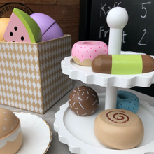 Load image into Gallery viewer, JaBaDaBaDo Cake Stand With 6 Delicious Cakes | Wooden Pretend Play Toys | Lifestyle - Stand On Table | BeoVERDE.ie