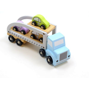 JaBaDaBaDo Car Transporter with 3 Cars | Wooden Imaginative Play Toy | Top-Side View | BeoVERDE.ie