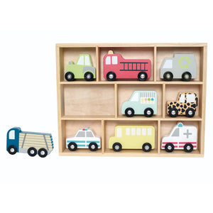 JaBaDaBaDo Wooden Cars Display Shelf With 9 Different Vehicles | Wooden Imaginative Play Toy | Front View – Lorry off shelf | BeoVERDE.ie