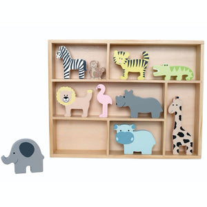 JaBaDaBaDo Wooden Animal Display Shelf With 9 Different Safari Animals | Wooden Imaginative Play Toy | Front View – Elephant off Shelf | BeoVERDE.ie