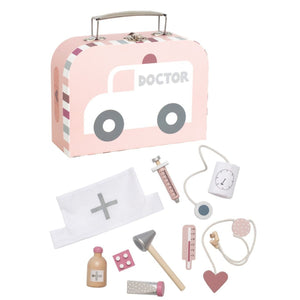 JaBaDaBaDo Doctor's Case Pink | Wooden Pretend Play Toy | Front View | BeoVERDE.ie