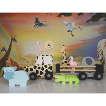 Load image into Gallery viewer, JaBaDaBaDo Safari Jeep | Wooden Imaginative Play Toy | Side View – Lifestyle | BeoVERDE.ie
