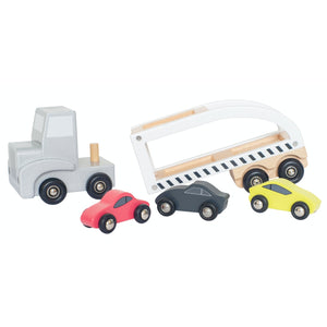 JaBaDaBaDo Car Transporter with 3 Sport Cars | Wooden Imaginative Play Toy | Side View  - Trailer Detached | BeoVERDE.ie