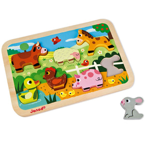 Janod Farm Puzzle With 7 Different Animals | Wooden Imaginative Play Toys | Rabbit Outside Tray | BeoVERDE.ie