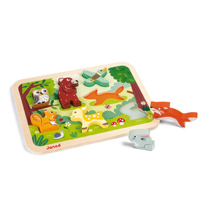 Janod Forest Puzzle With 7 Different Animals | Wooden Toddler Activity Toy | Rabbit Outside Tray | BeoVERDE.ie