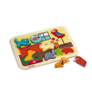Janod Pets Puzzle With 7 Different Animals | Wooden Toddler Activity Toy | Hamster Outside Tray | BeoVERDE.ie