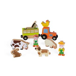 Janod Wooden Figure Farm Play Set with 10 Figures | Imaginative Play Toys | All Figures | BeoVERDE.ie