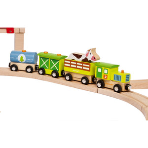 Janod Wooden Farm Steam Train with 3 Carriages | Imaginative Play Toys | Lifestyle | BeoVERDE.ie