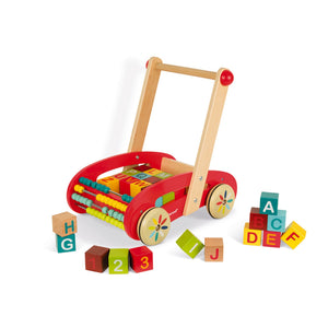 Trolley | Wooden Toddler Activity Toy | Front-Right Side View – Some Wooden Blocks Outside Cart | BeoVERDE.ie