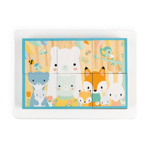 Janod Pure 6 Wooden Blocks Tray | Wooden Toddler Activity Toy | Top View – Animal Group | BeoVERDE.ie