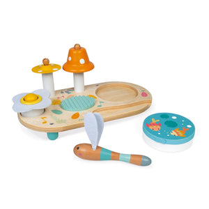 Janod Pure Musical Table | Wooden Toddler Activity Toy | Instruments Detached | BeoVERDE.ie