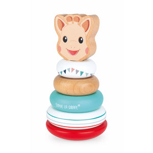 Sophie la girafe Stackable Roly-Poly | Wooden Toddler Activity Toy | Left Side | BeoVERDE.ie