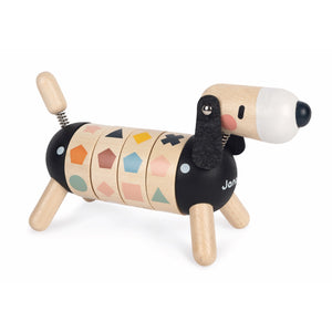 Janod Sweet Cocoon Shapes And Colours Dog | Scandi Style Wooden Toy | Front Right Side Shapes Lined-up | BeoVERDE.ie