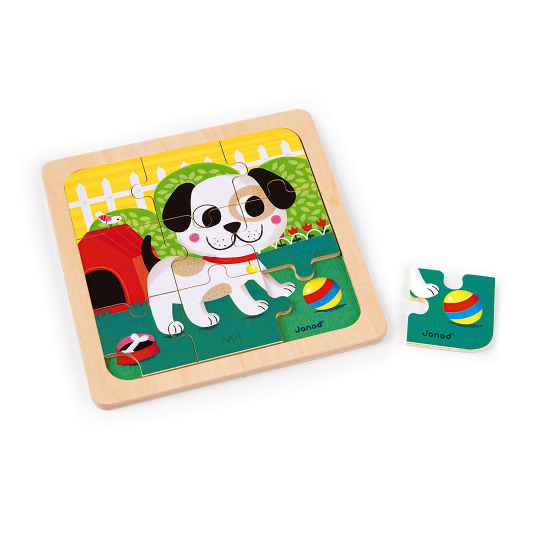 Janod Titus the Dog Wooden Puzzle | Wooden Toddler Activity Toy | One Piece Removed | BeoVERDE.ie