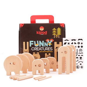Kipod Toys Funny Creatures | Creative Wooden Toy Play Set | Wooden Assembly Puzzle & Game | Front View – All Items | BeoVERDE.ie