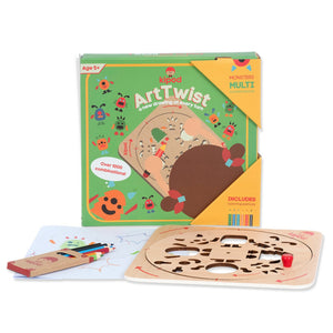 Monsters - Rotating Wooden Drawing Stencil Kit for Children | Kipod Toys | Wooden Arts & Crafts Kit | Educational Wooden Toy | Side View | BeoVERDE.ie