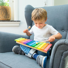 Load image into Gallery viewer, New Classic Toys Rainbow Xylophone | Musical Toy | Wooden Toddler Activity Toy | Lifestyle – Boy Playing | BeoVERDE.ie