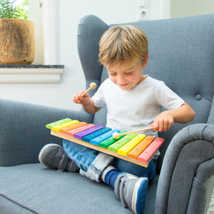 New Classic Toys Rainbow Xylophone | Musical Toy | Wooden Toddler Activity Toy | Lifestyle – Boy Playing | BeoVERDE.ie