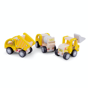 New Classic Toys Wooden Toy Construction Site Vehicle Set | Baby & Toddler Activity Wooden Toy | Group Shot Back | BeoVERDE.ie