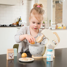 Load image into Gallery viewer, New Classic Wooden Mixer Set | Pretend Play Kitchen Toys | Lifestyle – Girl Playing | BeoVERDE.ie