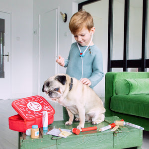 New Classic Toys Doctor Play Set | Wooden Pretend Play Toy | Lifestyle – Boy Examining with Dog | BeoVERDE.ie