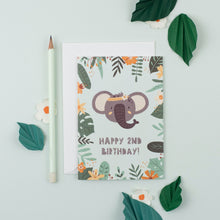 Load image into Gallery viewer, Ricicle Cards 2nd Birthday Kids Greeting Card | Kids Birthday Card with Envelope | Front View – Lifestyle | BeoVERDE.ie