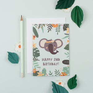 Ricicle Cards 2nd Birthday Kids Greeting Card | Kids Birthday Card with Envelope | Front View – Lifestyle | BeoVERDE.ie