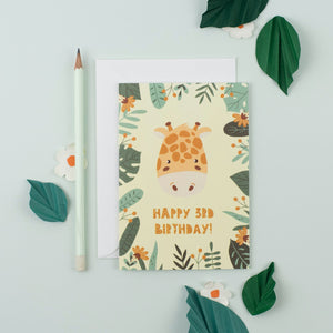 Ricicle Cards 3rd Birthday Kids Greeting Card | Kids Birthday Card with Envelope | Front View – Lifestyle | BeoVERDE.ie