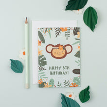 Load image into Gallery viewer, Ricicle Cards 5th Birthday Kids Greeting Card | Kids Birthday Card with Envelope | Front View – Lifestyle | BeoVERDE.ie