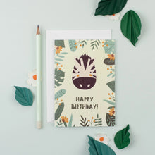 Load image into Gallery viewer, Ricicle Cards Zebra Birthday Card | Kids Birthday Card with Envelope | Front View – Lifestyle | BeoVERDE.ie