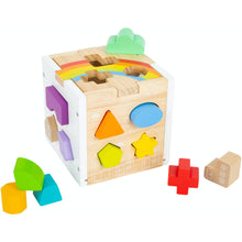 Load image into Gallery viewer, Small Foot Wooden Rainbow Shape Sorter Cube | Baby & Toddler Activity Toy | Side View | BeoVERDE.ie