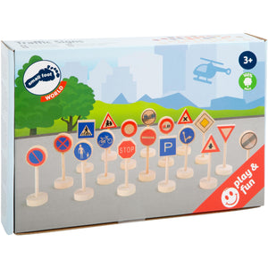 Small Foot Wooden Toy Traffic Signs 18 Pieces | Wooden Imaginative Play Toys | Packaging | BeoVERDE.ie