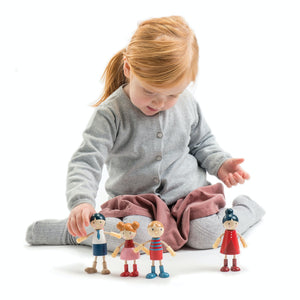 Tender Leaf Toys Wooden Doll Family with Flexible Arms & Legs | Inspires Imaginative Play | Lifestyle – Girl Playing | BeoVERDE.ie