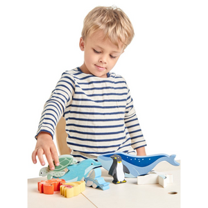 Tender Leaf 10 Coastal Animals & Shelf Set | Hand-Crafted Wooden Animal Toys | Boy Playing |BeoVERDE.ie