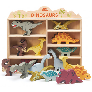 Tender Leaf Wooden Dinosaurs | Hand-Crafted Wooden Animal Toy | Wooden Dinosaurs Outside Shelf | BeoVERDE.ie